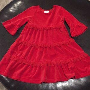 Red Velour Ruffle Dress